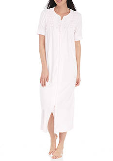 Miss Elaine Short-Sleeve Terry Zip Robe