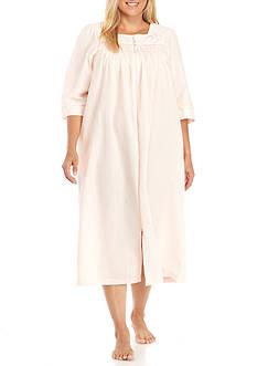 Miss Elaine Plus Size Long Seersucker Zip Robe