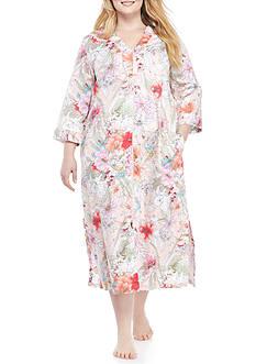 Miss Elaine Plus Size Floral Printed Sateen Long Zip Robe