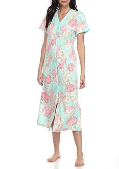 Miss Elaine Pink Floral Long Interlock Zip Front Robe