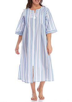 Miss Elaine Plus Size Seersucker Long Zipper Robe