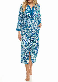 Miss Elaine Long Interlock Zip Knit Robe