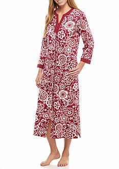 Miss Elaine Long Interlock Zip Knit Robe