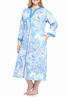 Miss Elaine Plus Size Interlock Long Zip Robe