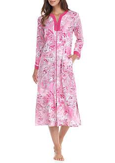 Miss Elaine Long Interlock Zip Front Robe