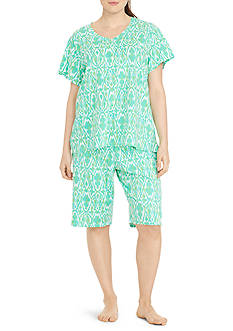 Lauren Ralph Lauren Plus Size Short Sleeve Bermuda Pajama Set