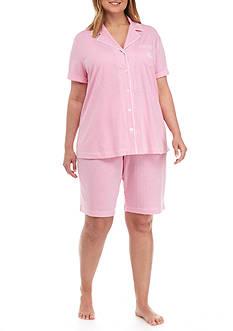 Lauren Ralph Lauren Plus Size Short-Sleeve Knit Pajama Set
