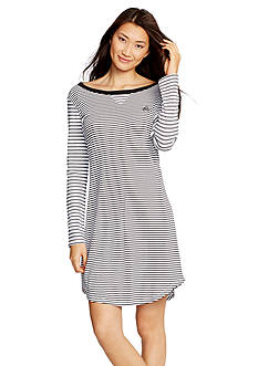 Lauren Ralph Lauren White Stripe Long Sleeve Sleepshirt