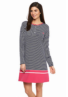 Lauren Ralph Lauren Long Sleeve Striped Sleepshirt