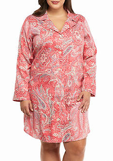 Lauren Ralph Lauren Plus Size Long Sleeve Sateen Paisley Sleepshirt