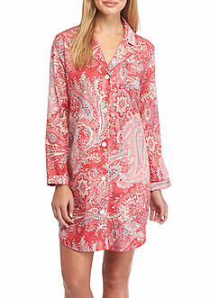 Lauren Ralph Lauren Long Sleeve Paisley Sateen Sleepshirt