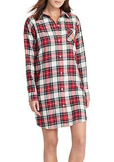 Lauren Ralph Lauren Flannel Button Up Sleepshirt