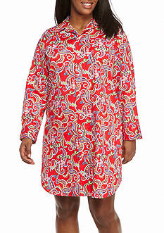 Lauren Ralph Lauren Plus Size Long Sleeve Sateen Sleepshirt