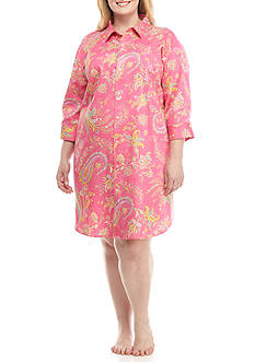Lauren Ralph Lauren Plus Size Three Quarter Length Sateen Sleep Shirt