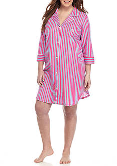 Lauren Ralph Lauren Plus Size Three Quarter Length Sleep Shirt