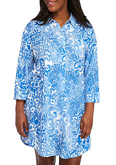 Lauren Ralph Lauren Plus Size Printed Notch Sleepshirt