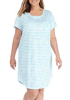 Lauren Ralph Lauren Plus Size Stripe Sleepshirt