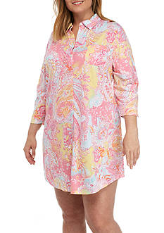 Lauren Ralph Lauren Plus Size Three-Quarter Sleeve Collar Knit Sleepshirt
