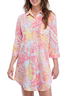 Lauren Ralph Lauren Three-Quarter Sleeve Collar Knit Sleepshirt