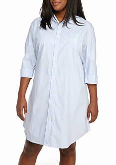 Lauren Ralph Lauren Plus Size Dot Notch Collar Sleep Shirt