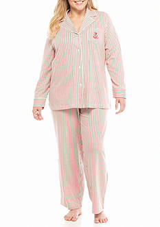 Lauren Ralph Lauren Plus Size Knit Notch Pajama Set