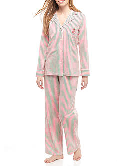 Lauren Ralph Lauren Stripe Knit Notch Pajama Set