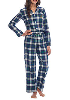 Lauren Ralph Lauren Petite Plaid Flannel Notch Pajama Set