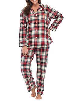 Lauren Ralph Lauren Plus Size Plaid Flannel Notch Pajama Set