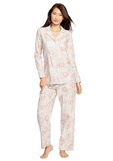 Lauren Ralph Lauren 2-Piece Long Sleeve Twill Notch Pajama Set