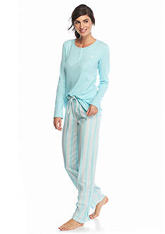 Lauren Ralph Lauren 2-Piece Long Sleeve Tee and Woven Pajama Set