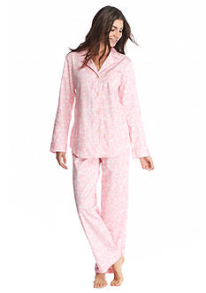 Lauren Ralph Lauren 2-Piece Pink Floral Sateen Notch Collar Pajama Set