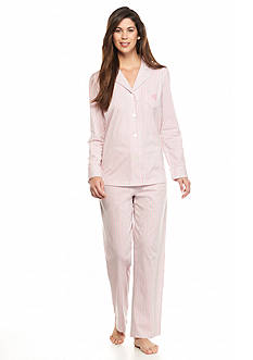Lauren Ralph Lauren 2-Piece Pink Stripe Notch Knit Pajama Set