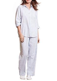 Lauren Ralph Lauren Petite Three Quarter Sleeve Woven His Shirt Pajama Set