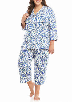 Lauren Ralph Lauren Plus Size Notch Collar Bingham Knit Capri Pajama Set