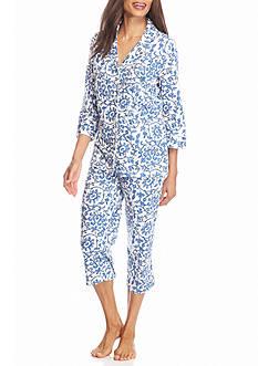 Lauren Ralph Lauren Three Quarter Knit Scroll Pajama Set