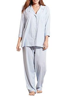Lauren Ralph Lauren Plus Size Three Quarter Sleeve Bingham Knit Pajama Set