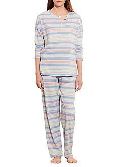 Lauren Ralph Lauren Multi Stripe Slub Pajama Set