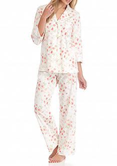 Lauren Ralph Lauren Three Quarter Floral Knit Pajama Set