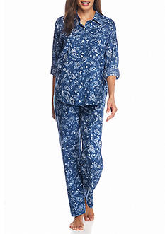 Lauren Ralph Lauren Petite Three Quarter Sleeve Lawn Pajama Set