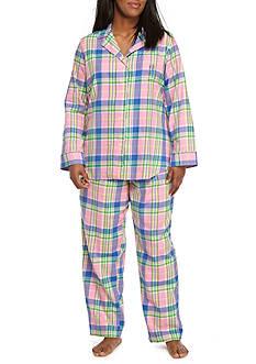 Lauren Plus Size Brushed Twill Notch Pajama Set