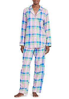Lauren Ralph Lauren Brushed Twill Notch Pajama Set