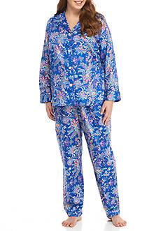 Lauren Ralph Lauren Petite Sateen Notch Pajama Set