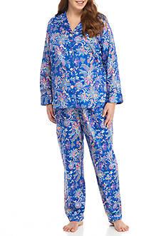 Lauren Ralph Lauren Plus Size Sateen Notch Pajama Set