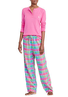 Lauren Ralph Lauren Henley and Plaid Sleep Pant Pajama Set