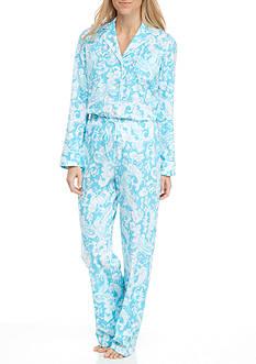 Lauren Ralph Lauren Petite Knit Notch Collar Pajama Set with Piping