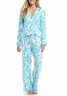Lauren Ralph Lauren Knit Notch Collar Pajama Set with Piping