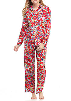 Lauren Ralph Lauren Petite Long Sleeve Sateen Pajama Set