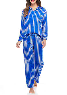 Lauren Ralph Lauren Long Sleeve Sateen Pajama Set