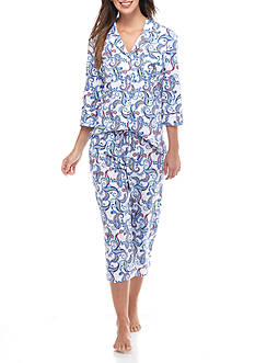 Lauren Ralph Lauren Three Quarter Sleeve Knit Capri Pajama Set