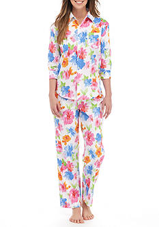 Lauren Ralph Lauren Petite Three-Quarter Length Sleeve Sateen Pajama Set